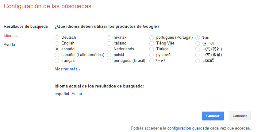 Idioma preferencias de Google